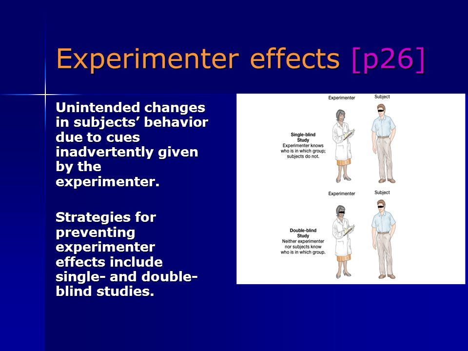 Experimenter effects [p26]